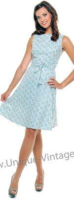 1950's Style Heartbreaker Blue Trellis Print Monique Swing Dress With Tie At Waist for Arinn?