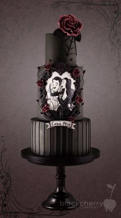 Eeep! The Addams Family's Gomez and Morticia wedding cake! • Follow Maude and Hermione on Pinterest for more wedding ideas and inspirations! •