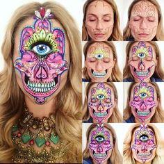 Hamsa Hand Skull Makeup Step by Step ✋✨ I forgot to post this! One of my New Year goals is to go to Burning Man in Nevada. Hopefully my creative contribution can be Face Art. This originally is the middle eastern symbol of good luck, happiness and wealth. The skull is my fascination with skulls  Products used ✋ @thegypsyshrine face jewels and chunky glitter in holographic gold, @woflefx face painting palette, @sugarpill lashes for the eye  top set in 'Heiress' lower set ...