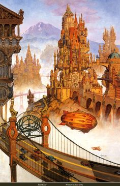 #steampunk #fantasy style city, setting inspiration Tom Kidd