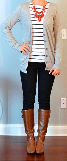Gray sweater, Blue/white stripped shirt, necklace, Jeans and boots. I enjoy seeing outfits on Pinterest with things I have but never thought to put together.... I have a whole new outfit and ZERO dollas spent