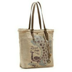 Lucky Brand Canvas tote Great tote with a peacock design and leather handles. Lucky Brand Bags Totes