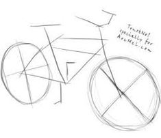 This easy tutorial will help you learn to draw a cartoon bicycle! So let's see how you could draw a simple bicycle in seven easy steps! Finally, add the basic shapes for the saddle, the handlebars and the pedal. Bike Drawing Simple, Bicycle Drawing, Bicycle Painting, Bicycle Art, Pencil Sketches Easy, Sketches Tutorial, Perspective Drawing Lessons, Mountain Drawing, Drawing Prompt