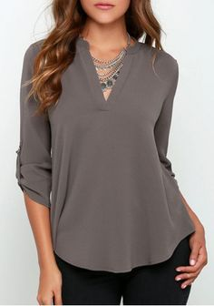 *Concise Solid Color V-Neck 3/4 Sleeve Chiffon Blouse For WomenBlouses…
