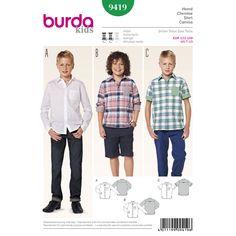 Burda Childrens Easy Sewing Pattern 9792 Long /& Short Sleeve Shirts Burd...