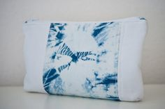 Blue Shibori zippered bag  Shibori Dyed  Shibori zippered