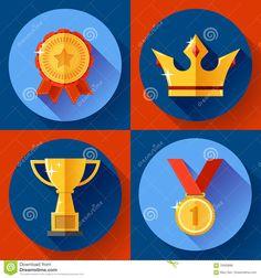 icon-set-golden-victory-symbols-champion-cup-crown-medal-badge-flat-design-awarding-ribbon-style-70500896.jpg (1300×1390)