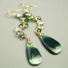 Green Tourmaline Vine Statement Earrings with por fussjewelry, $214.00