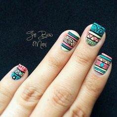 30 Super Nail Art Ideas for Short Nails 2019 Love Nails, Pretty Nails, My Nails, Short Square Nails, Short Nails, Tribal Nails, Cute Nail Art, Super Nails, Nagel Gel