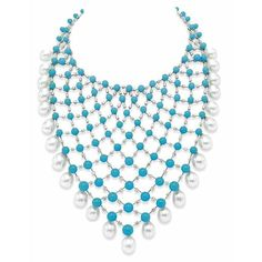 A turquoise, diamond and cultured pearl necklace by House of Taylor.