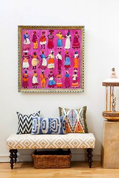 great mix of colors and prints; also, a hot pink that doesn't come off girly...idea: make your own inexpensive throw pillows with fun fabric.