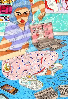 Laura Callaghan Illustration  One of the paintings I produced for Pick Me Up - this one is called 'Disconnect'.  I made nine new pieces based on the nine circles of hell referenced in Dante's Inferno, this one is is based on Heresy ♆