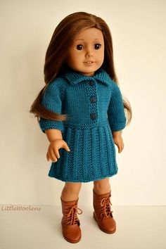Hand Knitted 18 Inch American Girl Doll Clothing: Teal Dress