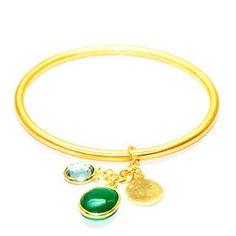 Green Onyx Blue topaz Brass Bangle