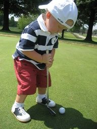 little boy like to play golf:)
