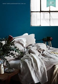 Miss Molly French flax bedlinen, styled and photographed by Temple & Webster