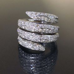 14k White gold Natural Diamond Wrapped style Cluster Cocktail Ring band 1.45ctw by crystalanchor on Etsy