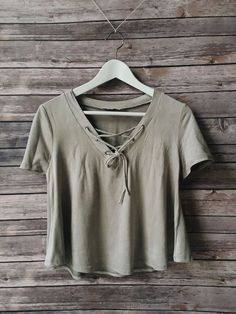 olive lace-up top