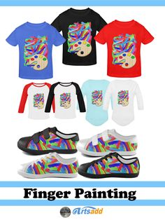 Kids shirts and shoes - Bright and colorful textured paint strokes, as if done with fingers or a thick artists brush. Cheery colors to brighten up your day! #Artsadd #Gravityx9 -