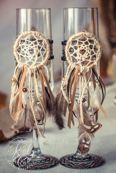 Native American wedding toasting glasses dream от RusticBeachChic