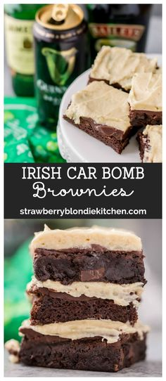 Guinness Stout Chocolate Brownies Jameson Ganache and Baileys Buttercream frosting are what these Irish Car Bomb Brownies are made of! Decadently sweet these brownies will satisfy any sweet tooth even those who arent lucky enough to be Irish! Köstliche Desserts, Delicious Desserts, Dessert Recipes, Easy Irish Desserts, Yummy Food, Chocolate Brownies, Chocolate Desserts, Irish Chocolate, Chocolate Cookies