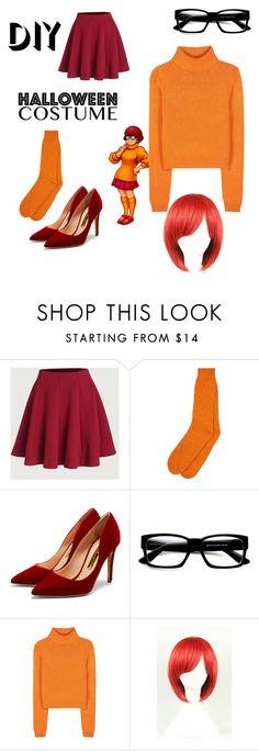 """DIY Halloween costume: Velma"" by lillyholtan ❤ liked on Polyvore featuring Rupert Sanderson, ZeroUV, Acne Studios, halloweencostume and DIYHalloween"