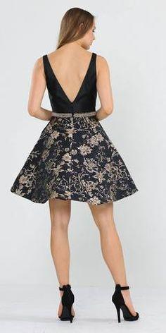 Black/Gold Print Skirt Short Homecoming Dress V-Neck Funeral Dress, Bride Dresses, Formal Dresses, Dream Prom, Winter Formal, Gold Print, Print Skirt, Latest Dress, Short Skirts