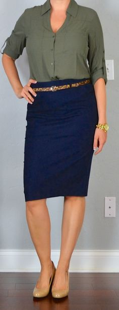 outfit post: navy pencil skirt, olive green portofino shirt, leopard belt, nude wedges | Outfit Posts