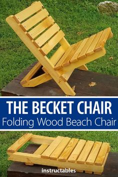 Becket Chair is a great beach/lawn chair that folds up into itself. It can be made cheaply and quickly.The Becket Chair is a great beach/lawn chair that folds up into itself. It can be made cheaply and quickly. Easy Woodworking Projects, Popular Woodworking, Woodworking Videos, Woodworking Furniture, Woodworking Plans, Woodworking Machinery, Woodworking Chisels, Youtube Woodworking, Woodworking Techniques