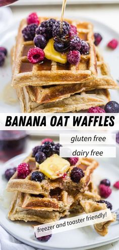 These freezer friendly gluten free waffles are made from oats, bananas dairy free milk and come together in minutes in the blender. Freeze them then toast them in the morning for a quick and healthy breakfast. Oatmeal Waffles, Breakfast Waffles, Egg Recipes For Breakfast, Delicious Breakfast Recipes, Quick And Easy Breakfast, Pancakes And Waffles, Brunch Recipes, Sweet Recipes, Yummy Food