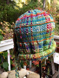 Hand woven Saori hat Tuquoise and Green : by saorisantacruz