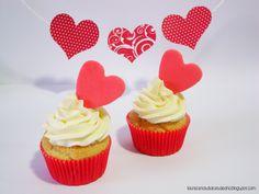 Cupcakes San Valentin Corazón, valentine cupcakes  http://lasrecetasdulcesdeana.blogspot.com