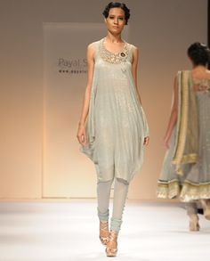 Slate Gray Cowled Suit with Crystal Necklace  by Payal Singhal