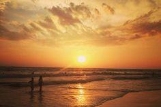 Sunset at the beach in Hikkaduwa, Southern Sri Lanka