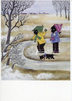 B৲( °৺° )৴K                                                           Jip en Janneke Winter Illustration, Children's Book Illustration, Happy Pictures, Pictures To Draw, Dachshund, Holland, Winter Fun, S Pic, Vintage Pictures