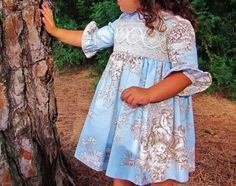 Girl/Toddler classic long dress.Angels.Sky by Moniquesthingsshop