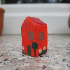 Tiny Red Pottery House,Small Clay House,Ceramic Tiny Home,Red House,Mediterranean House,Tuscan,Miniature House,Shelf Decor,Small village by TatjanaCeramics on Etsy
