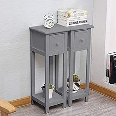 EXQUI Bedside Tables Set of 2 with Drawer Grey Slim Living Room Tables Small Nightstand with Drawers Telephone End Table for Small Space (25x25x70cm), G139H2: Amazon.co.uk: Kitchen & Home Small White Dressing Table, Small White Bedside Table, Small Vanity Table, Slim Bedside Table, Small Nightstand, Table For Small Space, Ikea Small Bedroom, Small Bedroom Interior, Small Guest Rooms