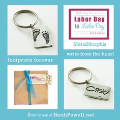 Love this idea for the Hubby! I hope I win! Heidi Powell, Baby Girl Born, Christmas Holidays, Christmas Gifts, Footprint, Keychains, Memories, Crafty, Personalized Items
