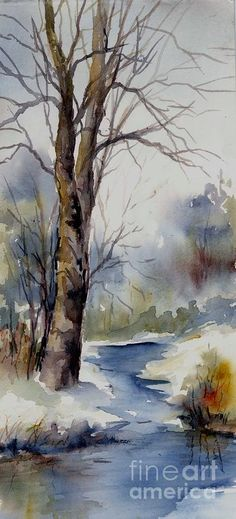 Day 18 Misty Winter Wood Painting Virginia Potter