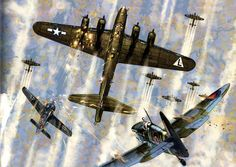 Chaos in the sky. Bombers, RAF Supermarine Spitfire, and Focke Wulf Fighter Ww2 Aircraft, Fighter Aircraft, Military Aircraft, Fighter Jets, Focke Wulf 190, War Thunder, Aircraft Painting, Airplane Art, Ww2 Planes