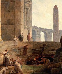 Hubert Robert - Ruins with an obelisk in the distance (1775)
