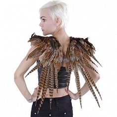 Natural Over/Shoulder Pheasant Feather Wings - ZUCKER® Feather Place Original Designs - Premium Fantasy Feather Costume & Cosplay Wings Cosplay Wings, Costume Wings, Bird Costume, Phesant Feathers, Feather Skirt, Feather Mask, Festival Costumes, Costumes For Teens, Adult Costumes