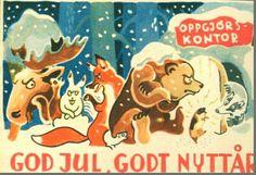 Julekort Arne Taraldsen 1940-tallet Oppgjørskontoret