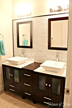 Modern bathroom vanity... LOVE the sinks that sit on top of the counters.