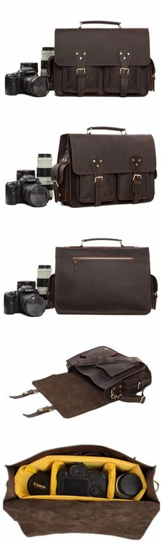 Vintage Genuine Leather DSLR Camera Bag Leather Briefcase SLR Camera Bag Model Number: Dimensions: x x / x x Weight: / Hardware: Brass Hardware Shoulder Strap: Adjustable & Removable Color: Dark Brown Features: Leather Camera Bag, Leather Briefcase, Leather Bag, Dslr Camera Reviews, Cameras Nikon, Dslr Photography Tips, Digital Photography, Portrait Photography, Best Digital Camera