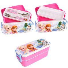 Disney-FROZEN-Lunch-Box-Kids-Girl-School-Cute-Bento-W-Fork-Spoon-Food-Container