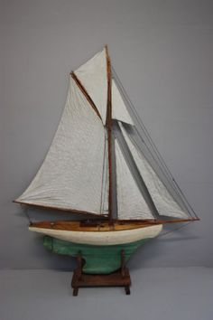 Huge English Antique 19th Century Pond Yacht