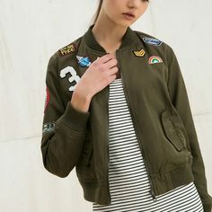 Fashion Army Green Women Bomber Jackets 2016 Female Coat Flight Suit Casual Print Jacket Embroidered Patches