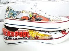 The Deadpool Comic Book Custom Sneakers. Weapon X. The Merc with a Mouth. The Gift That Never Shuts Up. on Etsy, $85.00